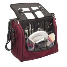 Features:  -Includes forks, knives, spoons, plates, wine tumblers, napkins, bottle opener, cheese knife, cutting board and salt and pepper shaker set.  -Picnic tote in Burgundy.  -Material: Nylon.  Pr