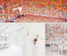 This was on the HGTV website and was posted by Briana Mowrey.  This is Payton Cosell Turner's sticker wallpaper. Yayoi Kusama's installation for the Queensland Gallery of Modern Art. Children who visited the gallery were given stickers and encouraged to add them to the white walls.