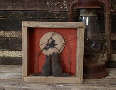 Primitive Halloween Cats Gazing Moon by rockriverstitches on Etsy