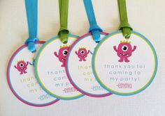 Girl Monster Favor Tags  Birthday Party by LittleMavens on Etsy, $0.90