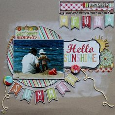 #papercraft #scrapbook #layout. Hello Sunshine - Scrapbook.com