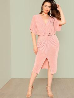 03377b094c Shop Plus Twist Front Slit Batwing Dress online. SheIn offers Plus Twist  Front Slit Batwing