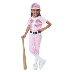 Toddler Baseball Girl Player Costume, Size: 3-4, Pink