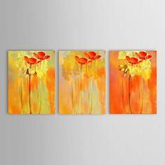 Main à l'huile peinte peinture florale de fleurs simples rouges de conception avec Set de cadre tendu de 3 – USD $ 114.99