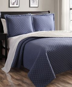 Love this Indigo & Ivory Demi Quilt Set by S.L. Home Fashions on #zulily! #zulilyfinds