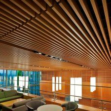 Wood Ceiling slats for acoustics - UBC Law Building - Vancouver, BC