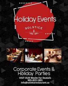 Book your Corporate or Company Holiday events now before we fill up. #solsticerestaurantandwinebar #solsticeevents #stayinsauga http://ift.tt/2koCbG2