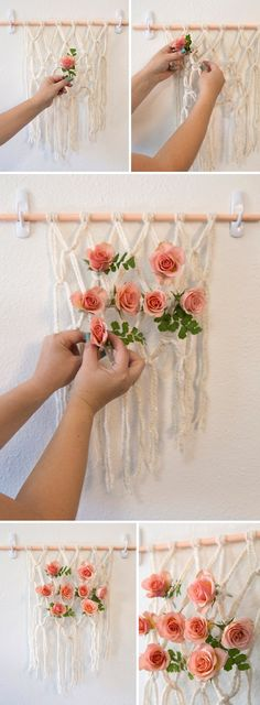 Wedding Reception We're obsessing over these DIY yarn macramé wedding reception chairs! - This isn't your typical macramé project, it's ultra easy and with the addition of flowers to it - we're dying! It's just perfect for your reception chairs! Macrame Wall Hanging Patterns, Hanging Flower Wall, Macrame Patterns, Felt Flowers, Diy Flowers, Wedding Reception Chairs, Macrame Chairs, Macrame Projects, Diy Blog