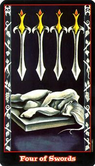 Four of Swords: Summon creativity and resourcefulness from the depths of your being.  Source: Four of Swords Tarot Card - Vampire Tarot Deck