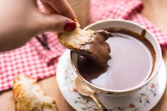 Parisian Hot Chocolate by dianeabroad. Recipe by David Lebovitz: More like a thick ganache, that the usual hot cocoa,   it's thick for dipping a piece of baguette, it getting soggy. Crazy good as an afternoon snack. #Hot_Chocolate