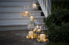 for the front steps at Stewartfield Hall - hurricane jars with candles
