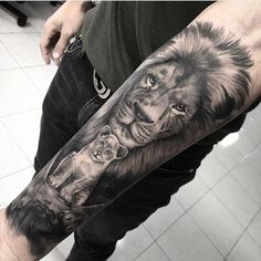 Lion and cub tattooed by Nelson limited appointments available at Holy Trinity. - Lion and cub tattooed by Nelson limited appointments available at Holy Trinity tattoos - Wolf Tattoos, Lion Forearm Tattoos, Lion Head Tattoos, Body Art Tattoos, Horse Tattoos, Tattoo Thigh, Celtic Tattoos, Animal Tattoos, Lion Cub Tattoo