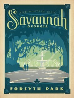 Postcard of Savannah Georgia Forsyth Park Fountain Travel Poster Style Postcard in United States > Georgia > Other Poster Retro, Vintage Travel Posters, Vintage Postcards, Vintage Ads, Retro Print, Vintage Stuff, Vintage Decor, Savannah Georgia, Savannah Chat