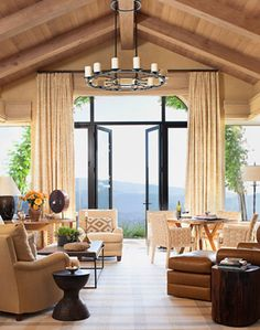 Ceilings: The oak beams in a California living room were hand hewn to enhance their textural quality.