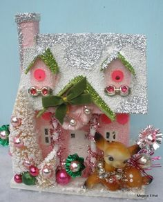 Vintage Style Christmas Glitter House - Pink & Green with deer Deer Christmas Town, Christmas Villages, Noel Christmas, Retro Christmas, Vintage Holiday, All Things Christmas, Christmas Ornaments, Christmas Glitter, Love Vintage