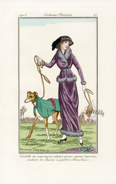 Inch Print (other products available) - A lady and her greyhound at a coursing meeting : her outfit is in prune-coloured velvet, the dog& is less elaborate. Date: 1913 - Image supplied by Mary Evans Prints Online - Inch Photograph printed in the UK Fine Art Prints, Framed Prints, Canvas Prints, Greyhound Art, Edwardian Fashion, Medieval Fashion, Vintage Fashion, Fashion Plates, Art Deco Fashion