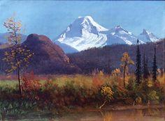 Baker from the Fraser River, Albert Bierstadt Albert Bierstadt Paintings, Carl Spitzweg, Fraser River, River Painting, Hudson River School, Southwest Art, Reproduction, Manet, Large Art