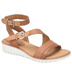 Comfortiva Leather Wedge Sandals - Corvina Leather Wedge Sandals, Leather Wedges, Huaraches, Birkenstock, Footwear, Sporty, Women's Fashion, Shoes, Flat Sandals