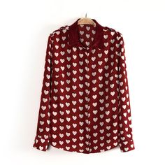 Autumn Casual Shirt Sweet Women Doll Collar Long Sleeve Tops Loving Printing Chiffon Shirt <font><b>Doces</b></font> Blusas camisa Red Long Sleeve Shirt, Red Long Sleeve Tops, Red Shirt, Red Chiffon, Print Chiffon, Chiffon Shirt, Chiffon Tops, Sweater Weather, Woman Shirt