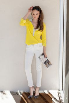 Yellow and white. Bright and crisp spring look.