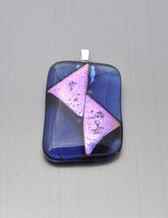 Large blue transparent glass pendant with pink metallic by Kaelay