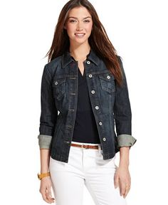 Tommy Hilfiger Denim Jacket - Jackets & Blazers - Women - Macy's   I wear this with maxi skirts, skinnies, etc. A great versatile denim jacket.