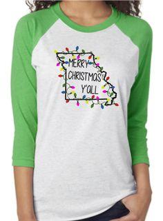 Merry Christmas y'all shirt, Christmas raglan, state Christmas shirt, Christmas lights, custom holiday raglan, southern christmas