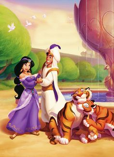 Aladdin, Jasmine, Rajah, (Rajah's Girlfriend)