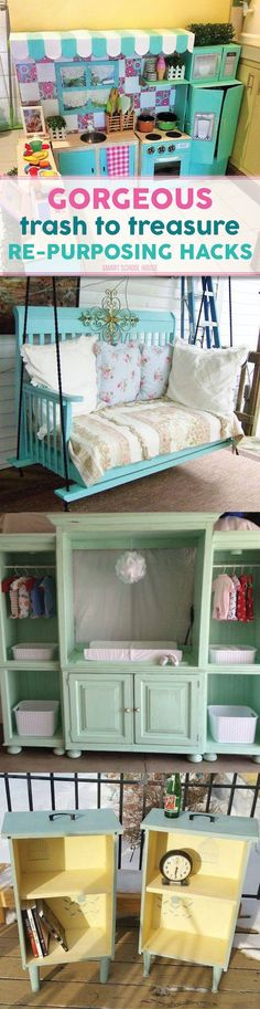 Trash to Treasure Re-Purposing Hacks - DIY ideas for creating something new out of something old.