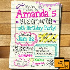 Sleepover Invitation, Doodle Teen Notebook Sleepover Invitation, Slumber Party Invitation, Pajama Party Invitation by ArtAmoris on Etsy Birthday Sleepover Ideas, Teen Sleepover, 13th Birthday Parties, Slumber Parties, Sleepover Activities, Slumber Party Ideas, 12th Birthday Party Ideas, 9th Birthday, Pyjama Party Invitation
