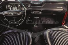 Ford Mustang Cobra Jet 428 Interior - Limited Edition Fine Art Print by Lucinda Lewis. Love the black on black interior textures. It's really an iconic design from the 1960s.