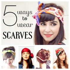 Find 5 adorable ways to whip a scarf into a head wrap! Links for more tutorials are included as well! | via - DIYconfessions.com