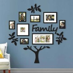 Family Tree Photo Frame Picture Collage Sticker Wall Mount Home Decor Family Tree With Pictures, Family Tree Photo, Family Tree Frame, Family Photos On Wall, Family Tree Mural, Family Trees, Family Picture Walls, Displaying Photos On Wall, Family Collage Frame