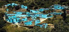 The village of Juzcar, Spain painted Smurf blue just for the movie.