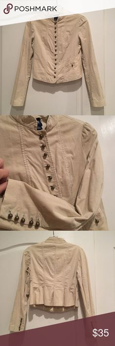 GAP Sand Stone Corduroy Crop Band Jacket Super cute Corduroy Crop Military Style Jacket with round brass like buttons and cute pleating in back. GAP Jackets & Coats