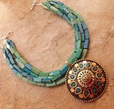 Agate Blue Pale Green Agate Pendant Necklace Turquoise L Bronze African Jewelry | eBay