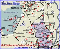 Map to the wineries of Oregon's Mid Willamette Valley - McMinnville AVA and Eola-Amity Hills District AVA