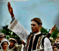 Iron Guard Leader of Romania Hails his troops Bellamy Salute, Romania People, German Uniforms, Set You Free, Troops, Ww2, The Man, Past, Folk