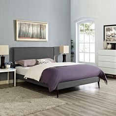 Camille Queen Fabric Platform Bed with Round Tapered Legs in Gray