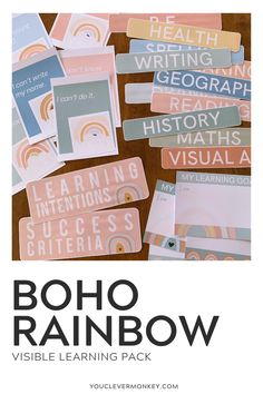 Looking for an easier way to manage visible learning in your class and display your learning intentions and success criteria? This BOHO RAINBOW display is perfect for displaying your daily/weekly learning intentions for each learning areas! Easy to edit - create an eye catching display for you to use over and over again so your students have a visual reminder of their learning goals and focus for each lesson. Made to match our BOHO RAINBOW Classroom Decor #bohorainbowclassroomdecor Classroom Desk, Classroom Displays, Meet The Teacher, Your Teacher, First Day Of School, Back To School, Visible Learning, Success Criteria, Rainbow Decorations