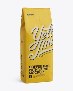 Coffee Bag With Valve Mockup - Half-Turned View
