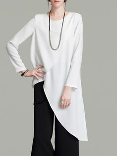 Shop Tunics - Cream Asymmetrical Simple Tunic online. Discover unique designers fashion at StyleWe.com.