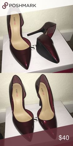 Maroon heels. Brand new. Never worn. Size: 7.5 fits like an 8. JustFab Shoes Heels