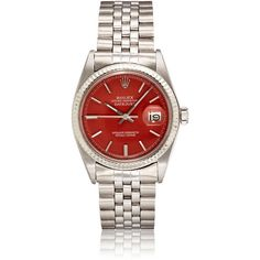 Vintage Watches Men's Vintage Oyster Perpetual Datejust Watch (17.190 BRL) ❤ liked on Polyvore featuring men's fashion, men's jewelry, men's watches, red, vintage mens watches, mens blue dial watches, mens watches jewelry and mens red watches