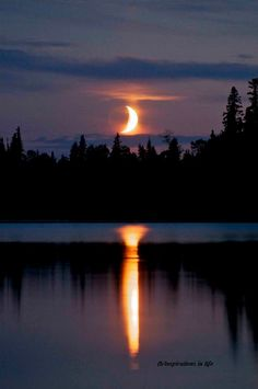 Moon setting on the lake in Garden Hill, Manitoba- unbelievably beautiful