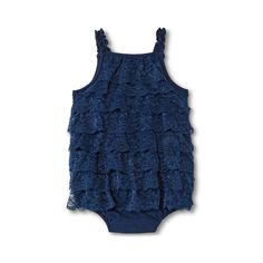 Infant Girl's Ruffle Romper, Navy