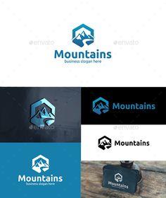 Mountains Logo: Nature Green Logo Design Template by djjeep. Business Slogans, Business Brochure, Peak Logo, Web Design, Graphic Design, Wine Label Design, Mountain Logos, Natural Line, Elegant Logo