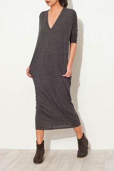 Charcoal V Neck Dress From ShopHeist.com!