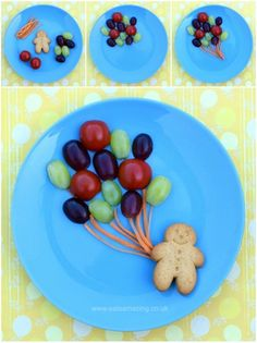 Fun, healthy and easy Food Art Plates for kids - fun balloon snack with full instructions from Eats Amazing UK - see post for more fun and easy food art plate ideas!