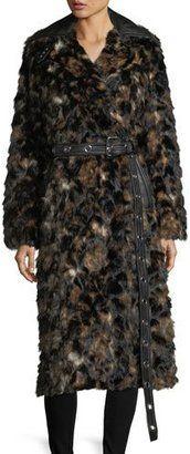 Shop Now - >  https://api.shopstyle.com/action/apiVisitRetailer?id=656066327&pid=uid6996-25233114-59 Helmut Lang Tortoise Faux-Fur Shawl-Collar Belted Coat w/ Faux-Leather Trim  ...